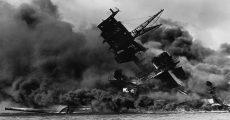 The USS Arizona sinking at Pearl Harbor.