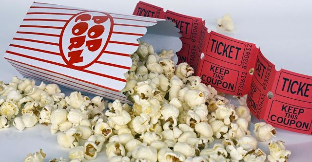 Movie tickets and movie popcorn