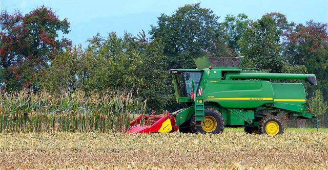 A John Deere Combine in a field