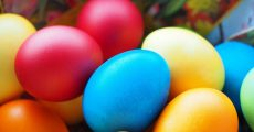 Stack of Easter eggs.