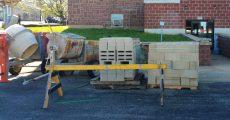 Construction equipment in Alton, Mo city square.