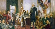 George Washington talking in front of the founding fathers.