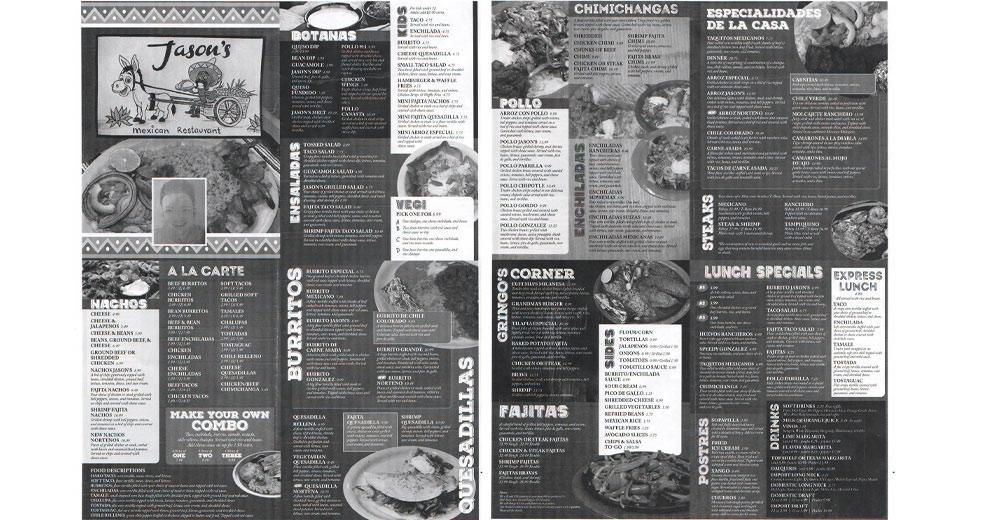 Jason's Mexican Restaurant's menu