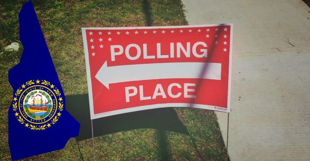 Polling place sign pointing