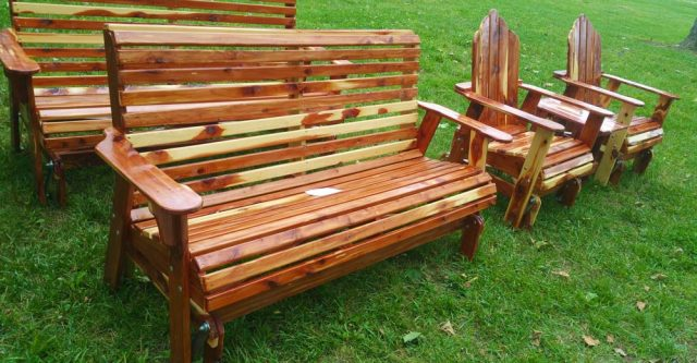 hand crafted wooden benches