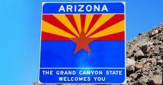 Arizona state welcome sign.