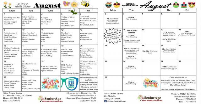 August Senior Center menu