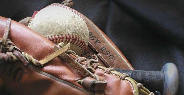 A Baseball, Bat, and Glove.