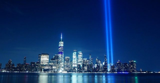 The 9-11 memorial in New York City, New York.