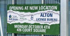 Alton License Bureau, now opening sign.